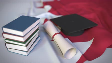 master's degree : Graduation cap, books and diploma on the Bahraini flag. Higher education in Bahrain related conceptual 3D animation