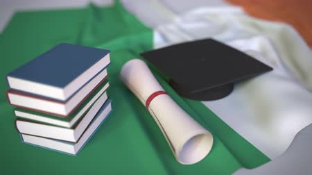 diploma : Graduation cap, books and diploma on the Irish flag. Higher education in Ireland related conceptual 3D animation Stockvideo