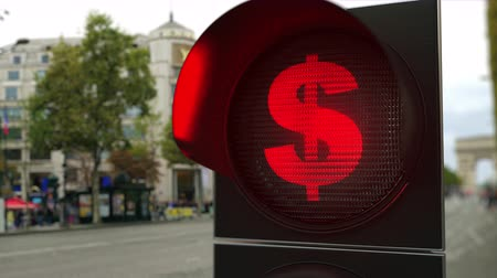 proibir : Dollar sign on red traffic light signal. Forex related conceptual 3D animation