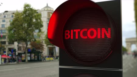 proibir : BITCOIN text on red traffic light signal. Cryptocurrency ban related conceptual 3D animation