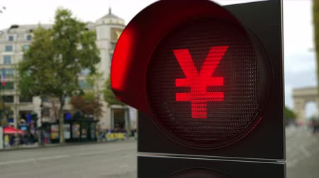 proibir : Yen sign on red traffic light signal. Forex related conceptual 3D animation Vídeos
