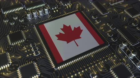 canadense : National flag of Canada on the operating chipset. Canadian information technology or hardware development related conceptual 3D animation Stock Footage