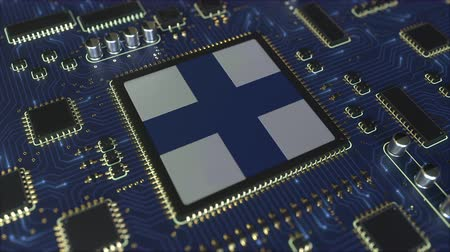 mikroişlemci : National flag of Finland on the operating chipset. Finnish information technology or hardware development related conceptual 3D animation