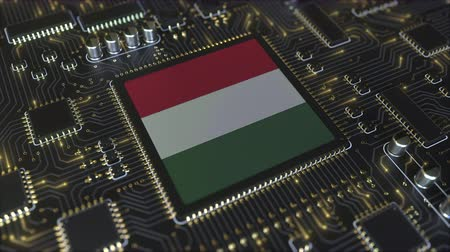 mikroişlemci : National flag of Hungary on the operating chipset. Hungarian information technology or hardware development related conceptual 3D animation Stok Video