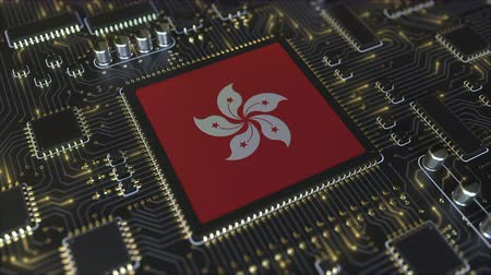 mikroişlemci : Flag of Hong Kong on the operating chipset. Information technology or hardware development related conceptual 3D animation Stok Video