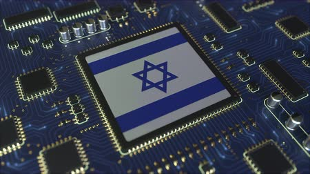 mikroişlemci : National flag of Israel on the operating chipset. Israeli information technology or hardware development related conceptual 3D animation Stok Video