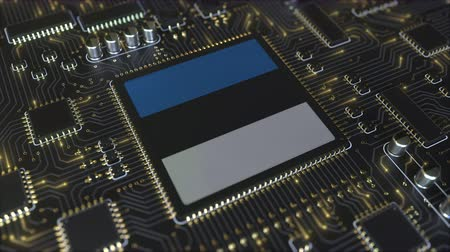 mikroişlemci : National flag of Estonia on the operating chipset. Estonian information technology or hardware development related conceptual 3D animation