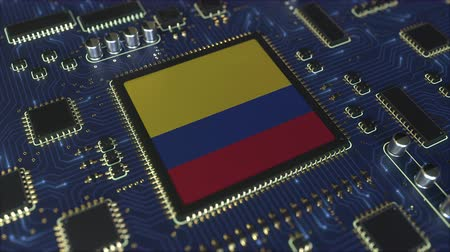colômbia : National flag of Colombia on the operating chipset. Colombian information technology or hardware development related conceptual 3D animation Vídeos
