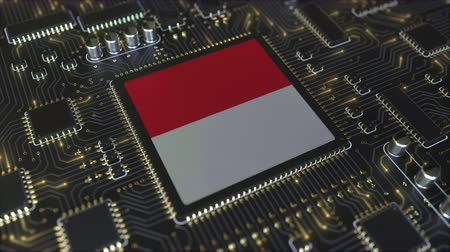 mikroişlemci : National flag of Indonesia on the operating chipset. Indonesian information technology or hardware development related conceptual 3D animation Stok Video