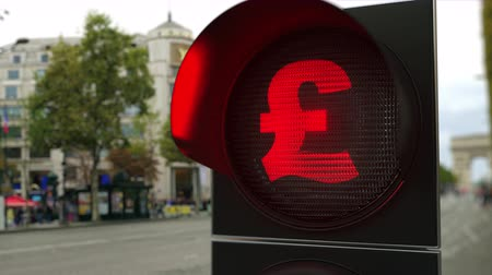 proibir : Sterling Pound sign on red traffic light signal. Forex related conceptual 3D animation