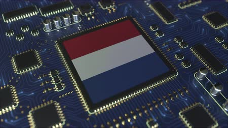 mikroişlemci : Flag of the Netherlands on the operating chipset. Dutch information technology or hardware development related conceptual 3D animation