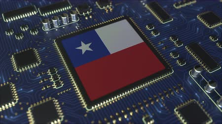 chipset : National flag of Chile on the operating chipset. Chilean information technology or hardware development related conceptual 3D animation