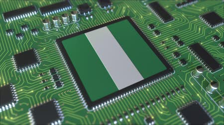 mikroişlemci : Flag of Nigeria on the operating chipset. Nigerian information technology or hardware development related conceptual 3D animation