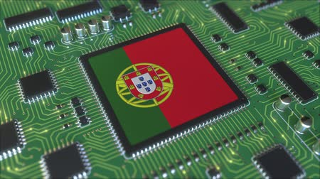 chipset : National flag of Portugal on the operating chipset. Portuguese information technology or hardware development related conceptual 3D animation