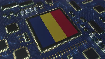 chipset : National flag of Romania on the operating chipset. Romanian information technology or hardware development related conceptual 3D animation Stock Footage
