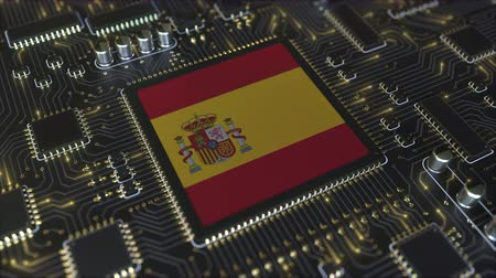 mikroişlemci : National flag of Spain on the operating chipset. Spanish information technology or hardware development related conceptual 3D animation