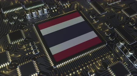 chipset : National flag of Thailand on the operating chipset. Thai information technology or hardware development related conceptual 3D animation Stock Footage