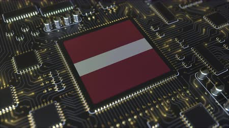 lette : National flag of Latvia on the operating chipset. Latvian information technology or hardware development related conceptual 3D animation