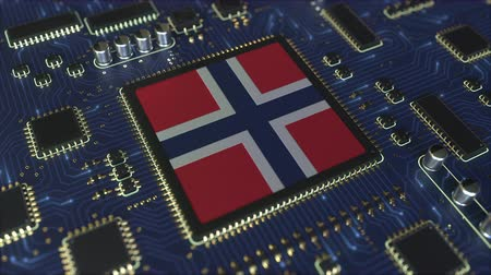 mikroişlemci : National flag of Norway on the operating chipset. Norwegian information technology or hardware development related conceptual 3D animation Stok Video