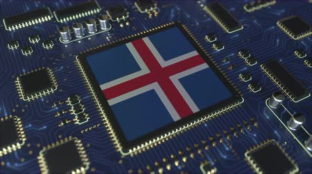 chipset : National flag of Iceland on the operating chipset. Icelandic information technology or hardware development related conceptual 3D animation