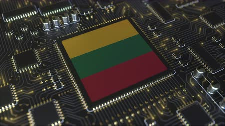Литва : National flag of Lithuania on the operating chipset. Lithuanian information technology or hardware development related conceptual 3D animation