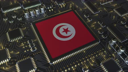 tunesie : National flag of Tunisia on the operating chipset. Tunisian information technology or hardware development related conceptual 3D animation