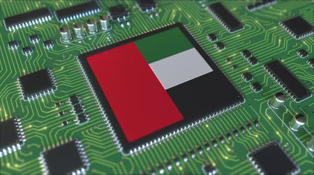 chipset : Flag of the United Arab Emirates on the operating chipset. UAE information technology or hardware development related conceptual 3D animation