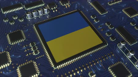 mikroişlemci : National flag of Ukraine on the operating chipset. Ukrainian information technology or hardware development related conceptual 3D animation