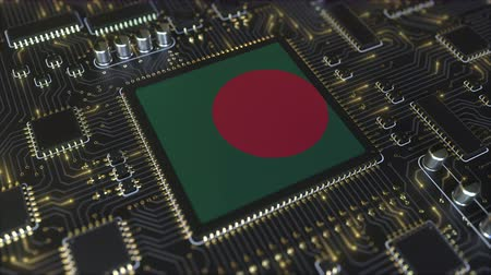 chipset : National flag of Bangladesh on the operating chipset. Bangladeshi information technology or hardware development related conceptual 3D animation