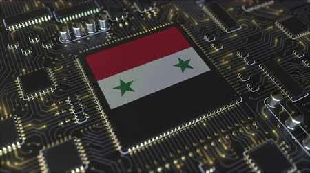 mikroişlemci : National flag of Syria on the operating chipset. Syrian information technology or hardware development related conceptual 3D animation Stok Video
