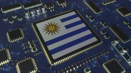 mikroişlemci : National flag of Uruguay on the operating chipset. Uruguayan information technology or hardware development related conceptual 3D animation