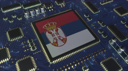 chipset : National flag of Serbia on the operating chipset. Serbian information technology or hardware development related conceptual 3D animation