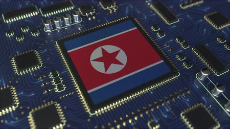 mikroişlemci : Flag of Norht Korea on the operating chipset. Information technology or hardware development related conceptual 3D animation