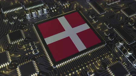 chipset : National flag of Denmark on the operating chipset. Danish information technology or hardware development related conceptual 3D animation Stock Footage