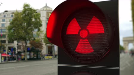 핵 : Radiation hazard symbol on red traffic light signal. Conceptual 3D animation 무비클립