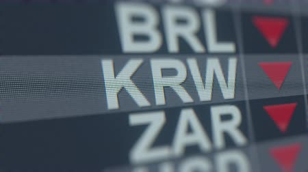 won : Decreasing South Korean Won exchange rate indicator on computer screen. KRW forex ticker loopable 3D animation Stock Footage