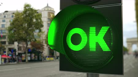 proceed : OK text on green traffic light signal. Conceptual 3D animation Stock Footage