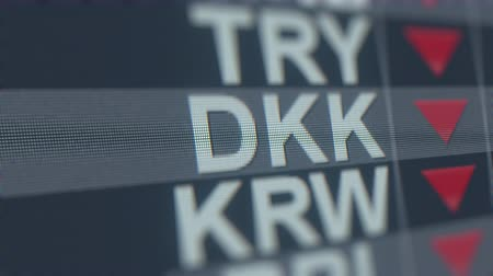 ticker : Decreasing Danish Krone exchange rate indicator on computer screen. DKK forex ticker loopable 3D animation