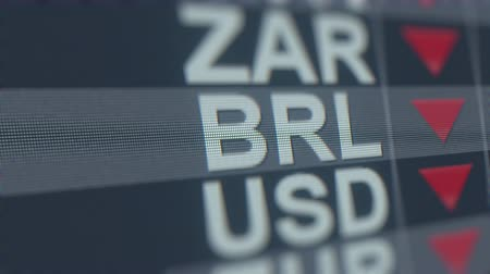 spadek : Decreasing Brazilian Real exchange rate indicator on computer screen. BRL forex ticker loopable 3D animation
