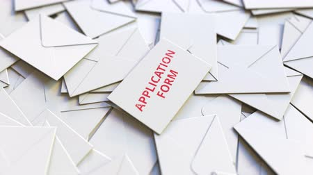 koperta : Envelope with application form on top of many other envelopes. Conceptual 3D animation