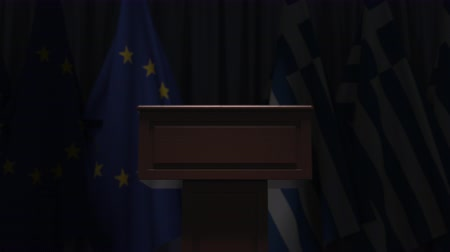 podyum : Flags of the EU and Greece and speaker podium tribune. Political event or negotiations related conceptual 3D animation