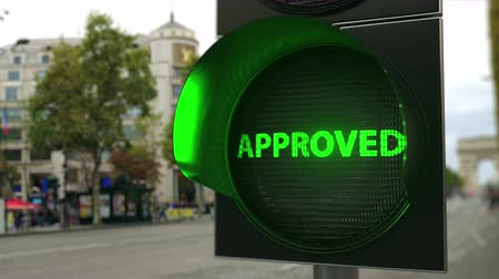 proceed : APPROVED text on green traffic light signal. Conceptual 3D animation Stock Footage