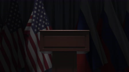 press conference : Flags of the USA and Russia and speaker podium tribune. Political event or negotiations related conceptual 3D animation