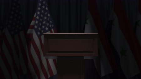 political speech : Flags of the USA and Syria and speaker podium tribune. Political event or negotiations related conceptual 3D animation