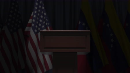 podyum : Flags of the USA and Venezuela and speaker podium tribune. Political event or negotiations related conceptual 3D animation