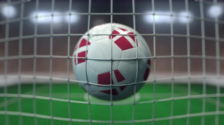 deense dog : Football with flags of Denmark hits goal net. Slow motion 3D animation Stockvideo
