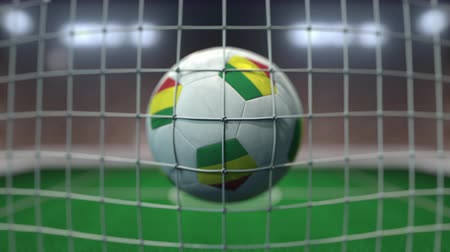 Боливия : Football with flags of Bolivia hits goal net. Slow motion 3D animation