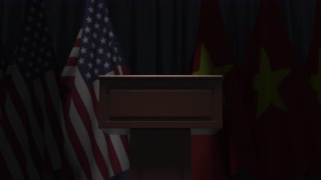 bandera vietnam : Flags of the USA and Vietnam and speaker podium tribune. Political event or negotiations related conceptual 3D animation Archivo de Video