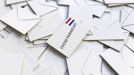 news letter : Letter with From Paraguay text on pile of other Letters. International mail related conceptual 3D animation Filmati Stock
