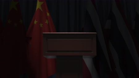 podyum : Flags of China and Thailand and speaker podium tribune. Political event or negotiations related conceptual 3D animation